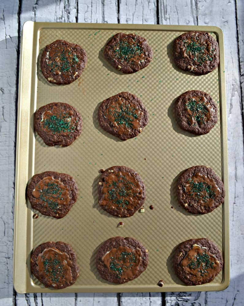Delicious Chocolate Mint Cookies with easy chocolate glaze.