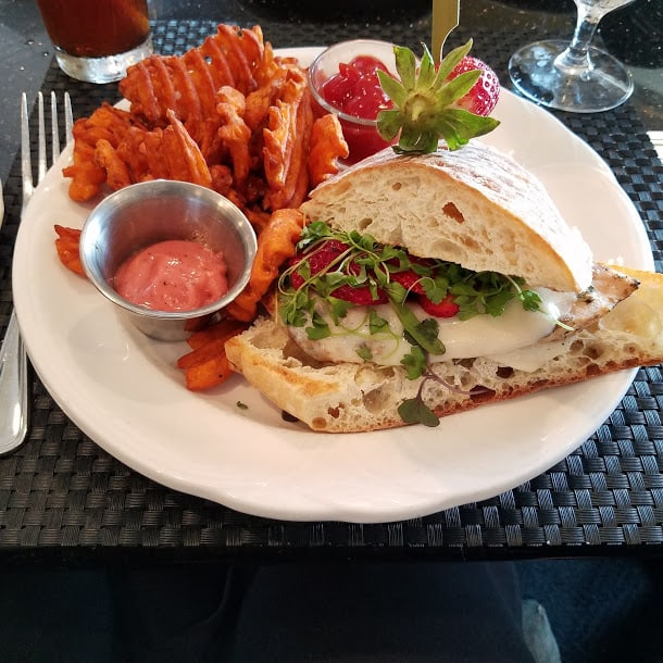 An amazing CHicken Panini with Strawberry Aioli