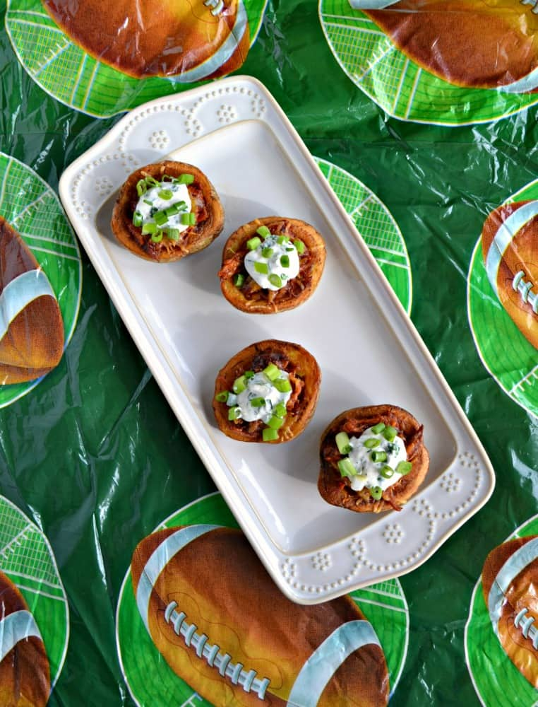 Bite into these tasty Pulled Pork Potato Skins for a Game Day snack!
