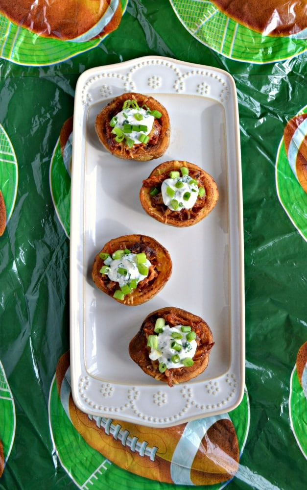 Looking for a filling and delicious Game Day appetizer? Check out these awesome Pulled Pork Potato Skins!