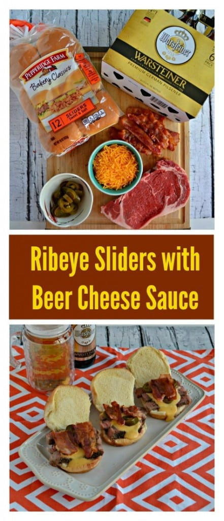 Everything you need to make Ribeye Sliders with Beer Cheese Sauce for Game Day!