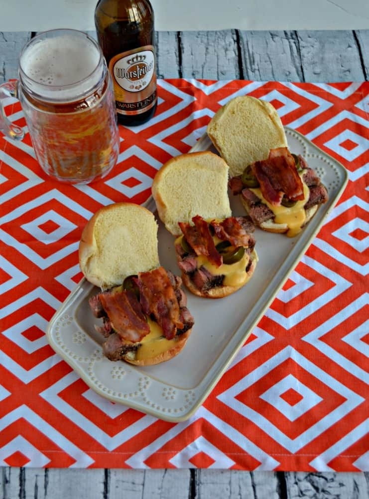 Looking for a delicious Game Day appetizer that's filling? Try this tasty Ribeye Sliders with Beer Cheese Sauce and wash it down with Warsteiner Premium German Pilsener