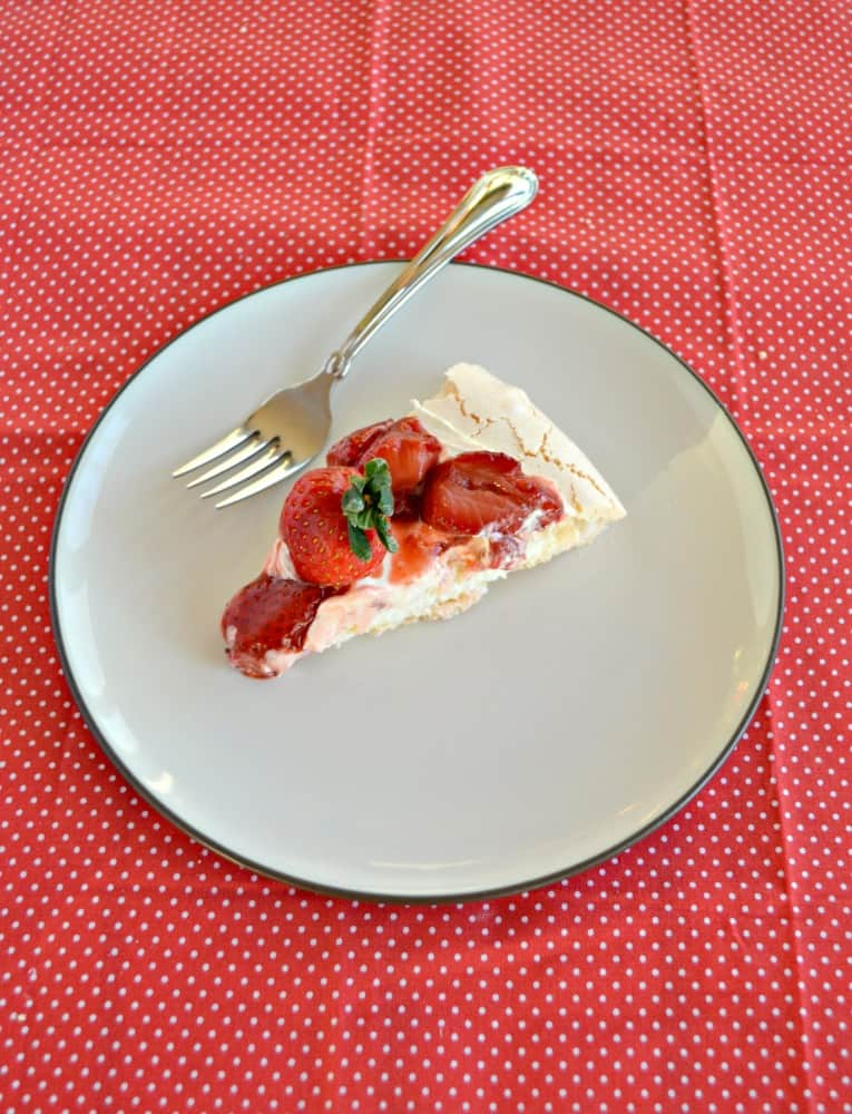 Grab a slice of Roasted Strawberry Pavlova with Lemon Cream for dessert!