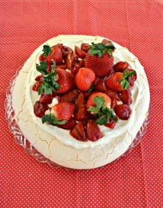Looking for a healthier dessert? Try my light and airy Roasted Strawberry Pavlova with Lemon Cream!