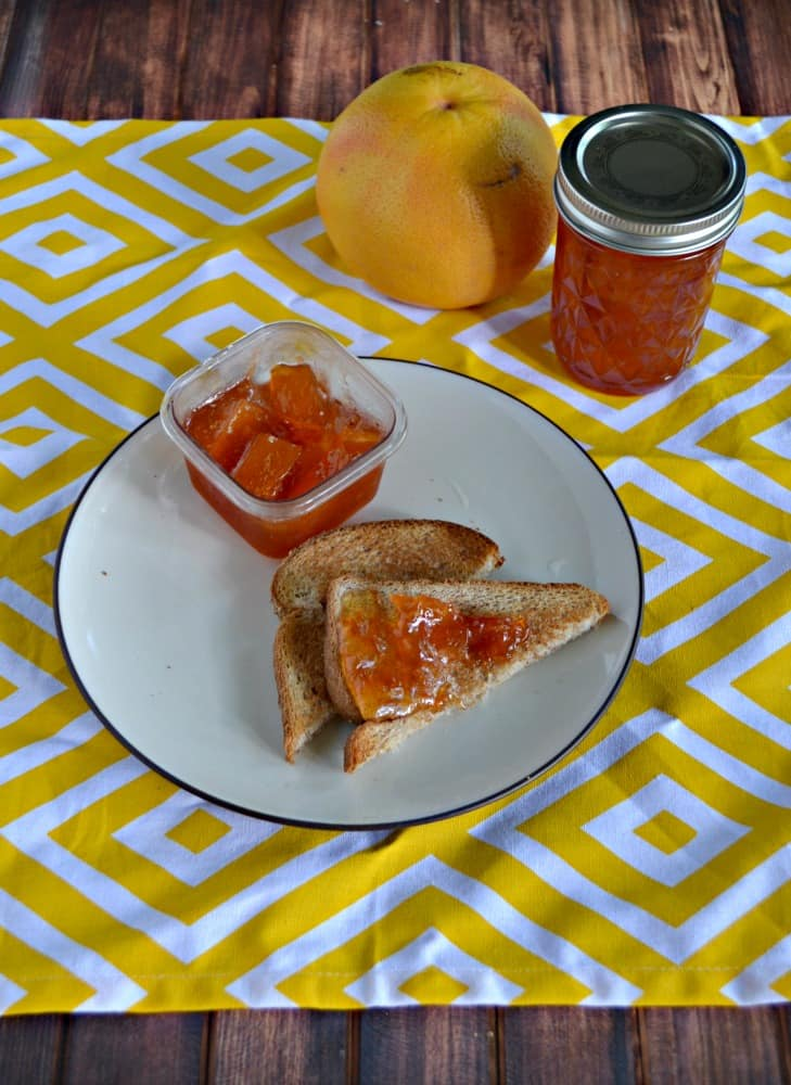 Love this thick Grapefruit Marmalade with chunks of actual grapefruit in it!