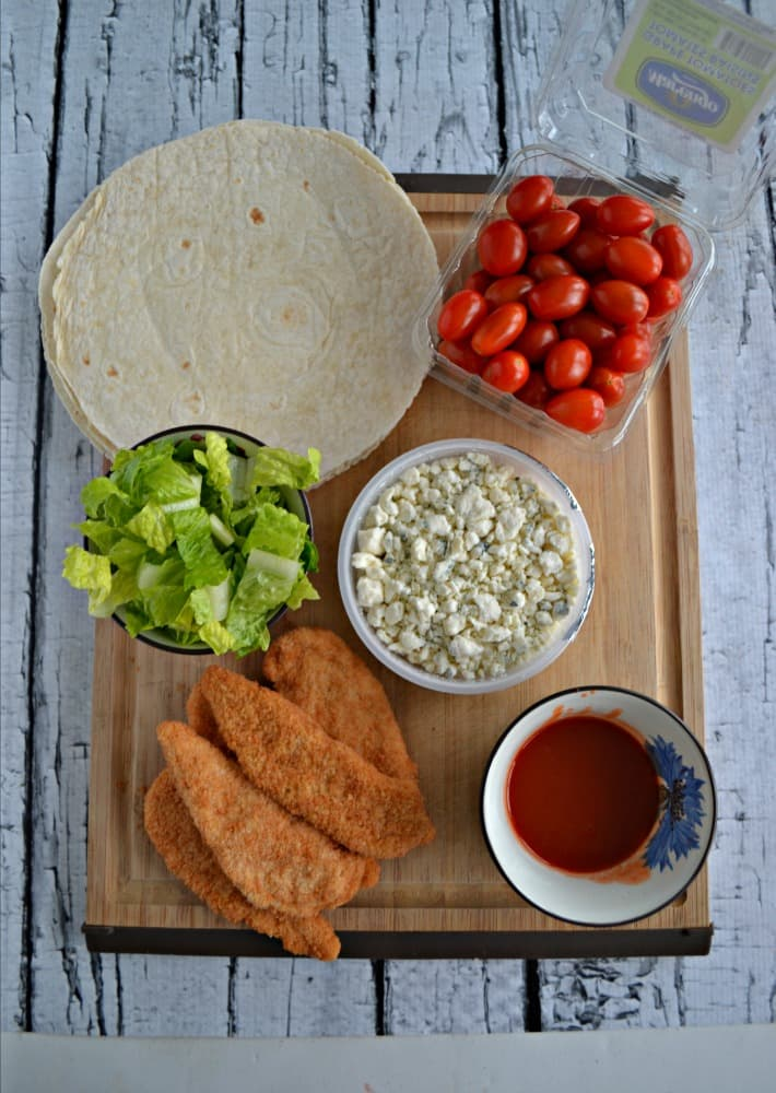 Everything you need to make delilcious Buffalo Chicken Wraps!