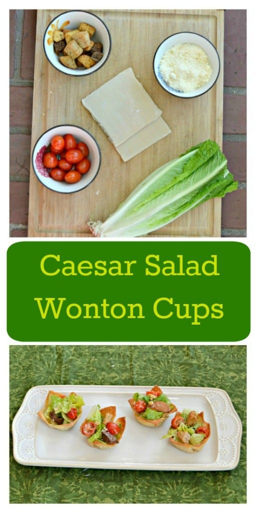Looking for a healthy and easy to make appetizer? Try these fun Caesar Salad Wonton Cups!