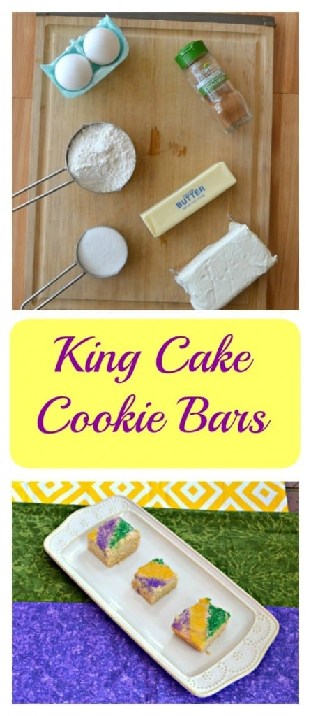 Looking for a fun Mardi Gras dessert? Try these tasty King Cake Cookie Bars!