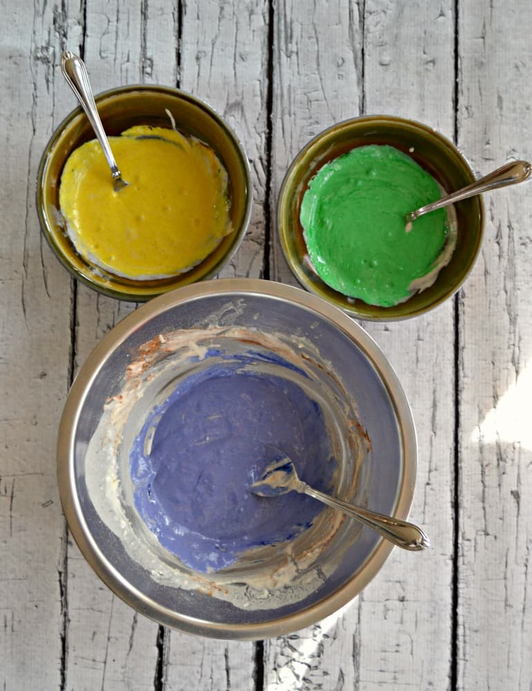 Mix up one batter and dye it three colors to make King Cake Pancakes!
