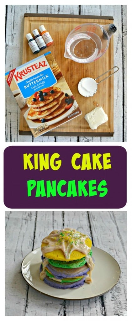 Looking for a fun way to celebrate Mardi Gras? Try these fun and festive King Cake Pancakes with Cream Cheese Drizzle