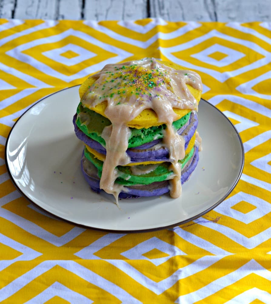 Looking for a way to celebrate National Pancake Day and Mardi Gras? Try my fun and festive King Cake Pancakes!