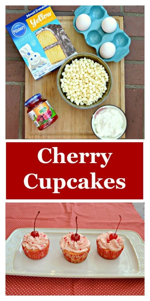 Everything you need to make Cherry Cupcakes!
