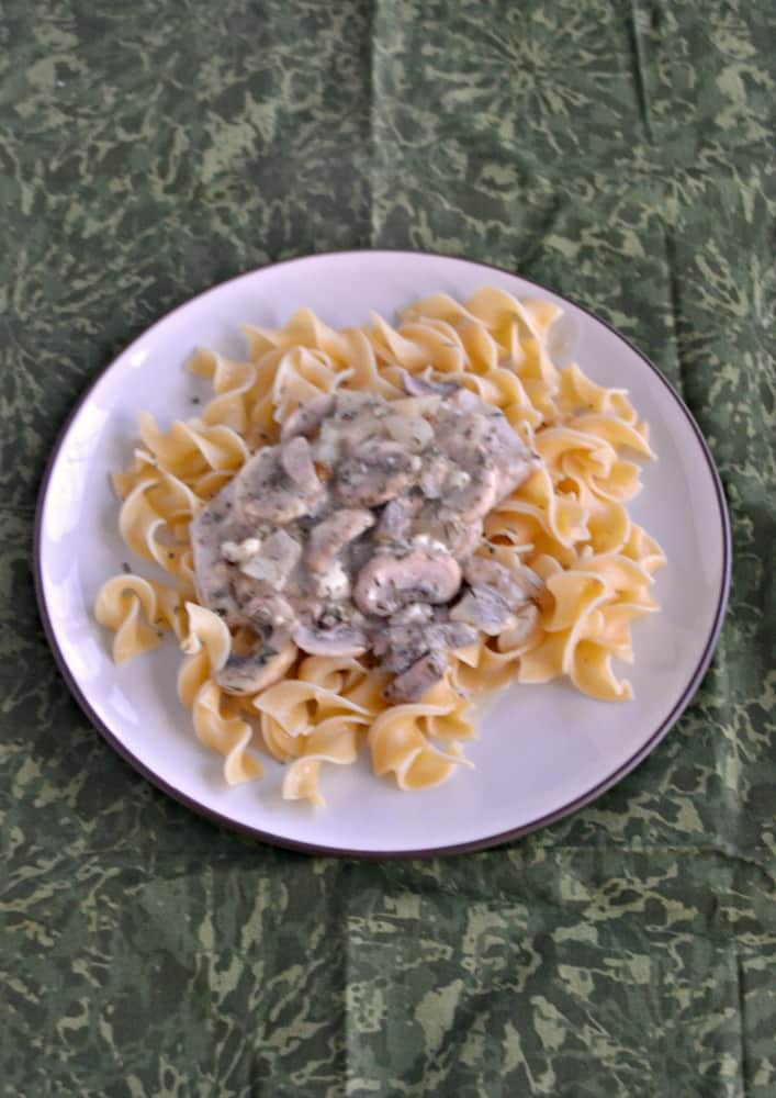 Looking for an easy weeknight meal? Try my Mushroom Smothered Pork Chops served over top of Noodles!