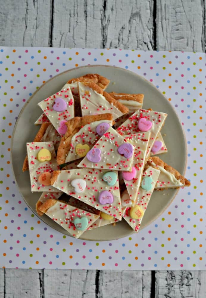 Need an easy treat for Valentine's Day? Try this Conversation Heart Sugar Cookie Bark!