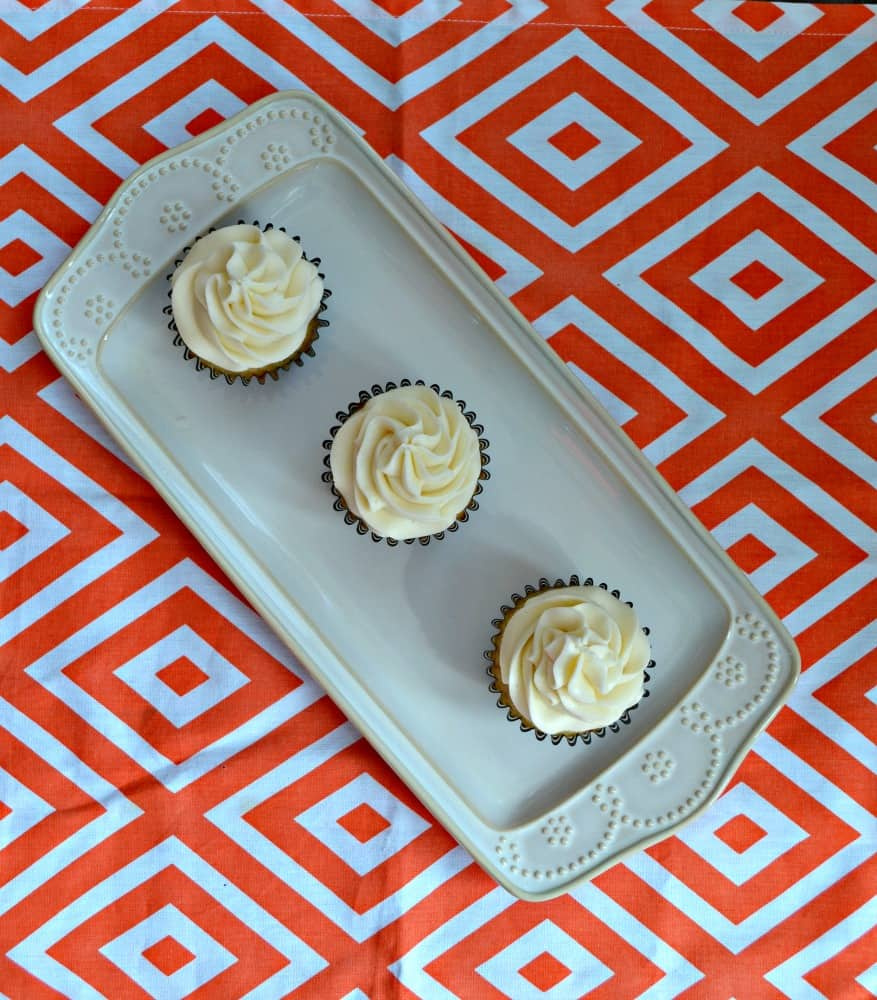 Grab one of these Vanilla Chai Cupcakes with Orange Frosting infused with Bigelow Teas!