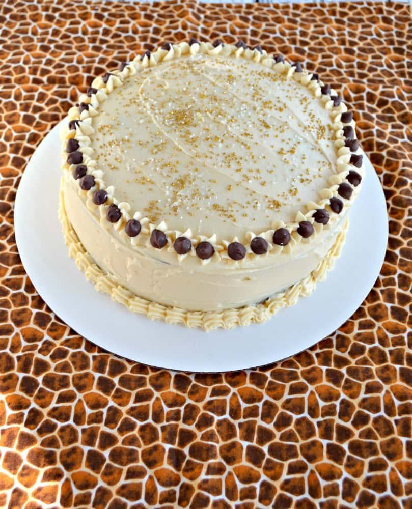 You'll want to dig right in to this amazing Chocola Mocha Cake with Salted Caramel Frosting with chocolate chips on top!