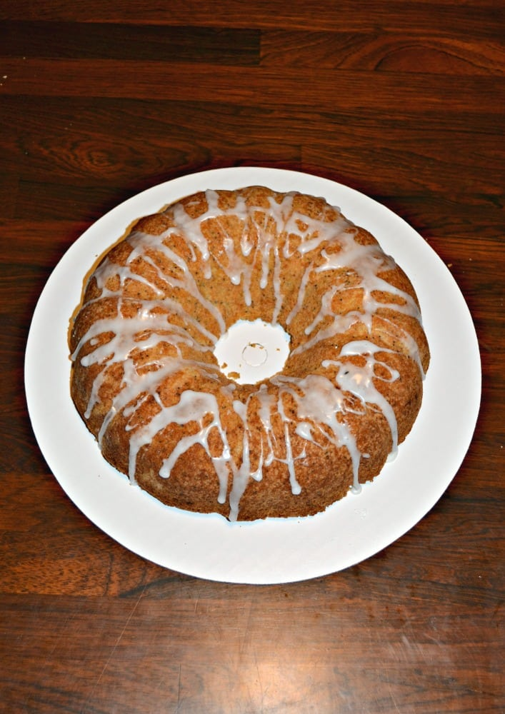 Lemon Poppyseed Bundt Cake topped with lemon glaze.