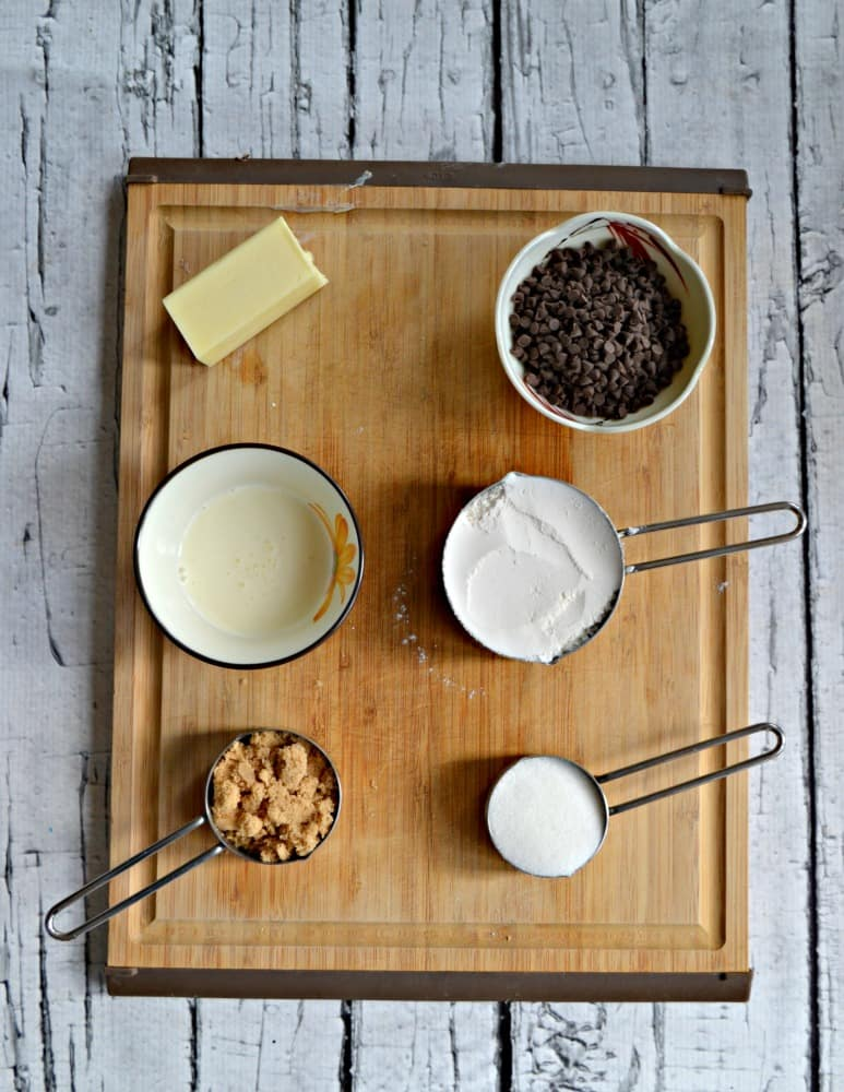 Everything you need to make Mint Chocolate Chip Cookie Dough Dip!