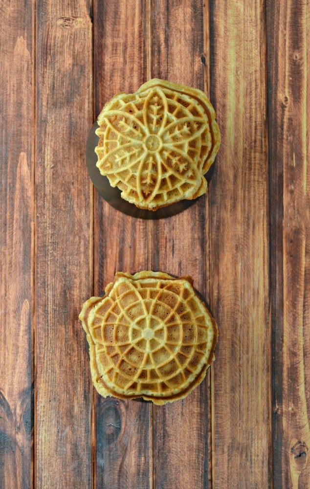 Using small bowls helps to create the base for these delicious Pizzelle Sundaes!