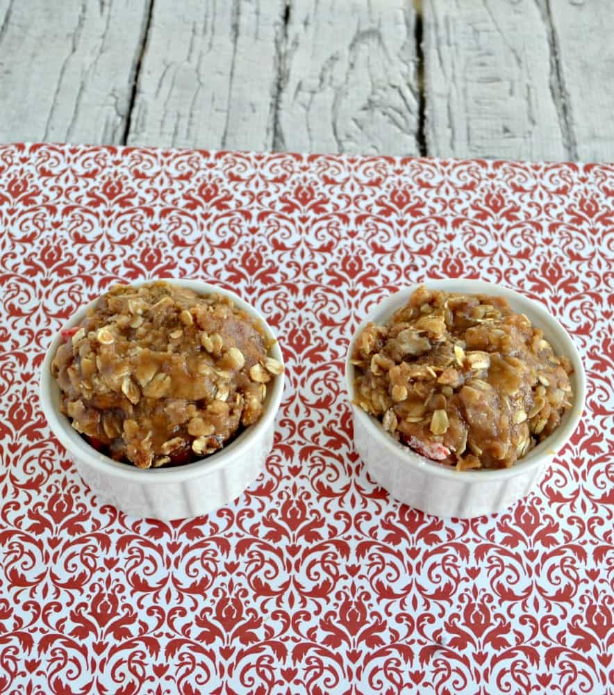 The crumble topping makes a sweet and crunchy top to a tasty Strawberry Crumble