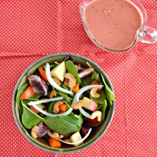 Love this gorgeous and colorful Fruit and Nut Salad with Berry Vinaigrette!