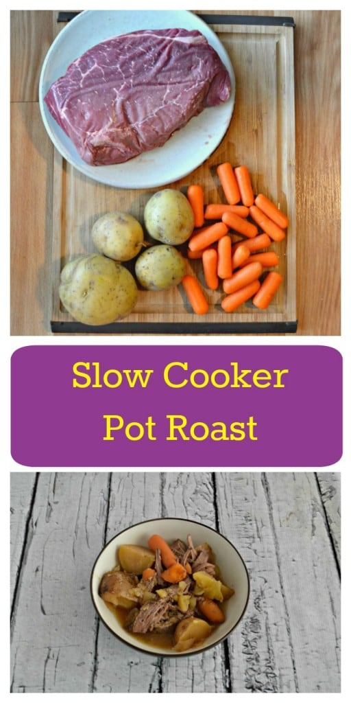 Looking for a delicious and easy to make weeknight meal? Try this tasty Slow Cooker Pot Roast with carrots and potatoes.