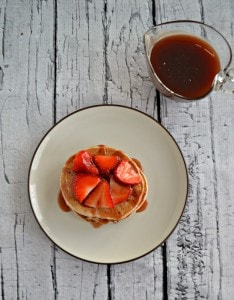 Looking for a delicious pancake recipe? Tty these Strawberry Shortcake Pancakes with homemade Strawberry Syrup