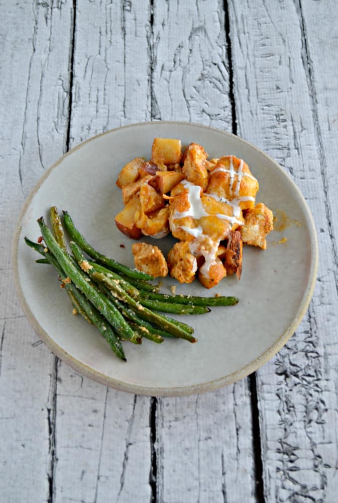 I love the spicy flavors in this Loaded Buffalo Chicken and Potato Bake!
