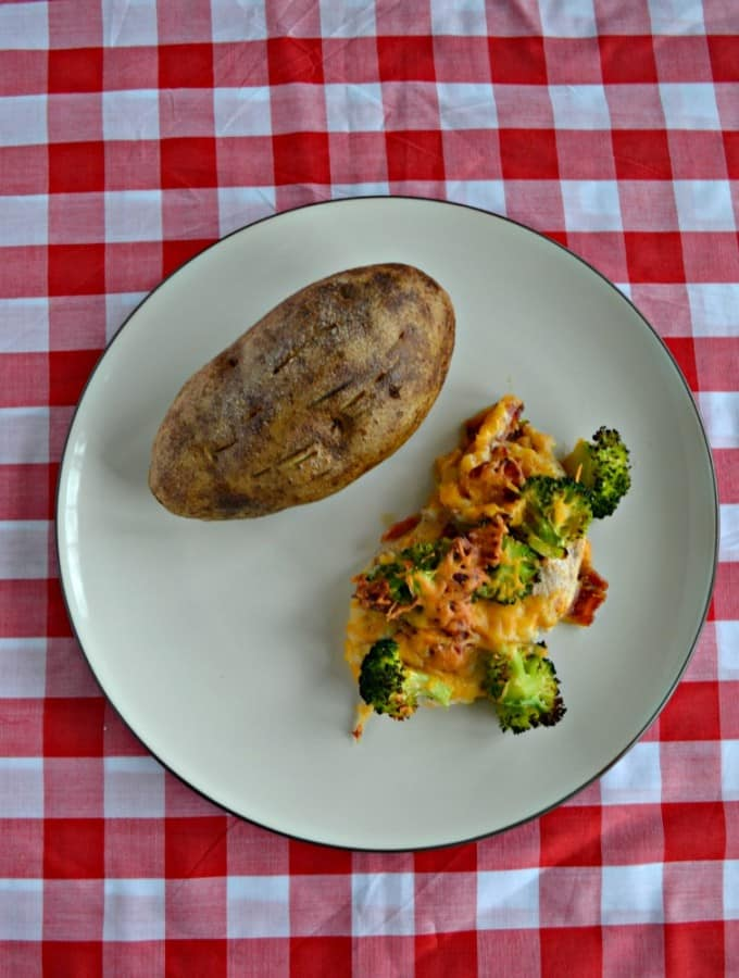 Looking for an easy one pan meal? Check out my Broccoli Bacon Cheddar Chicken Bake!
