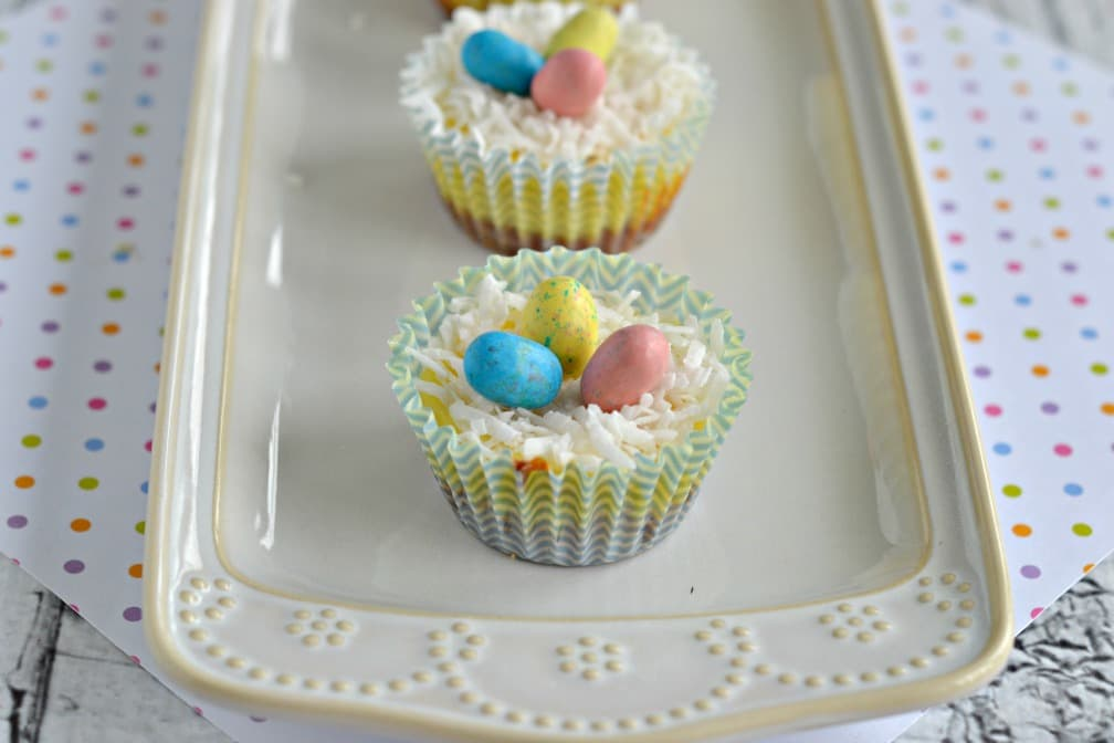 We love these Mini Easter Cheesecake Bites topped with malted chocolate eggs!
