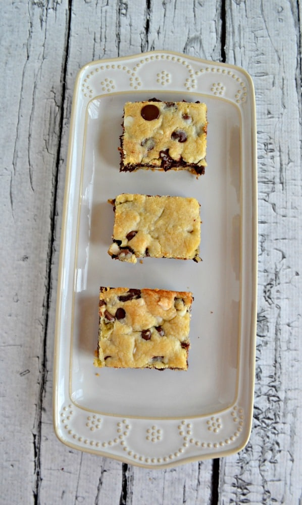 If you like chocolate chip cookies you'll love these Fudge Filled Chocolate Chip Cookie Bars!