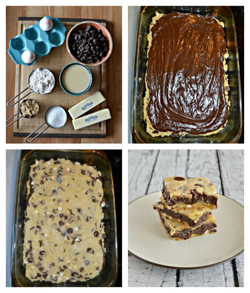 These decadent Fudge Filled Chocolate Chip Cookie Bars are easy to make and the whole family will love them!
