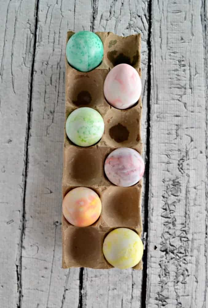 Make these colorful swirled Easter eggs with shaving cream!