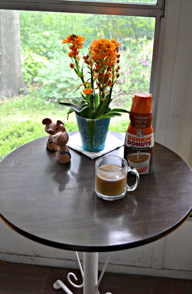 Wake up to a delicious cup of coffee sweetened with Dunkin' Donuts® Creamer.
