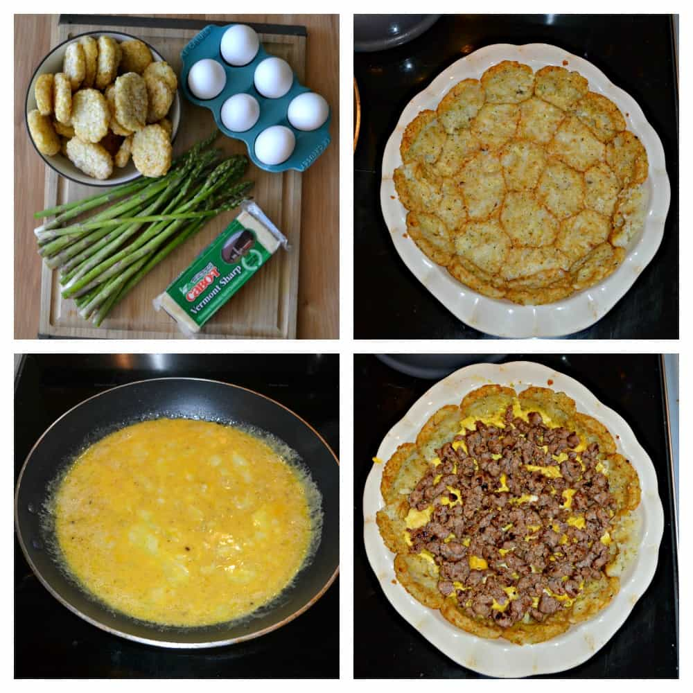 Try this delicious Hash Brown Crusted Casserole with eggs, Cheddar, Sausage, and Asparagus!