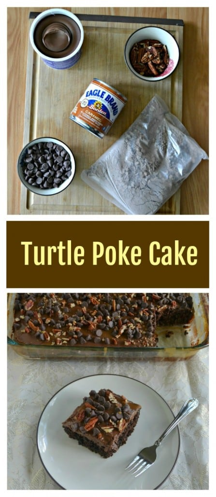 It's easy to make a delicious Chocolate Turtle Poke Cake!