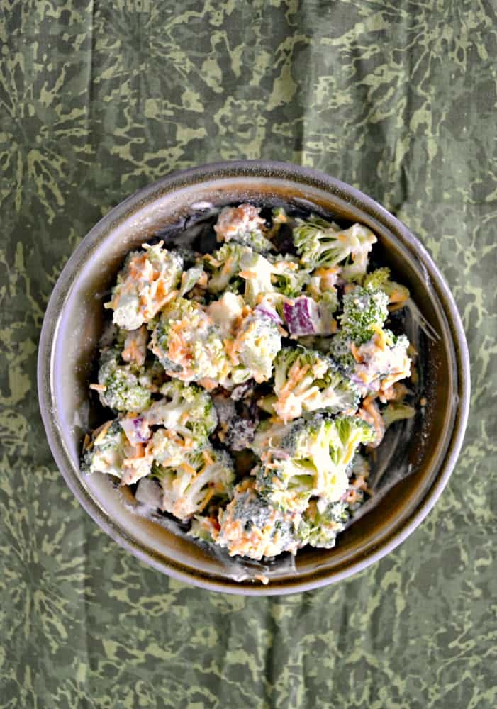 Love this Broccoli Salad with onions, bacon, cranberries, and walnuts!