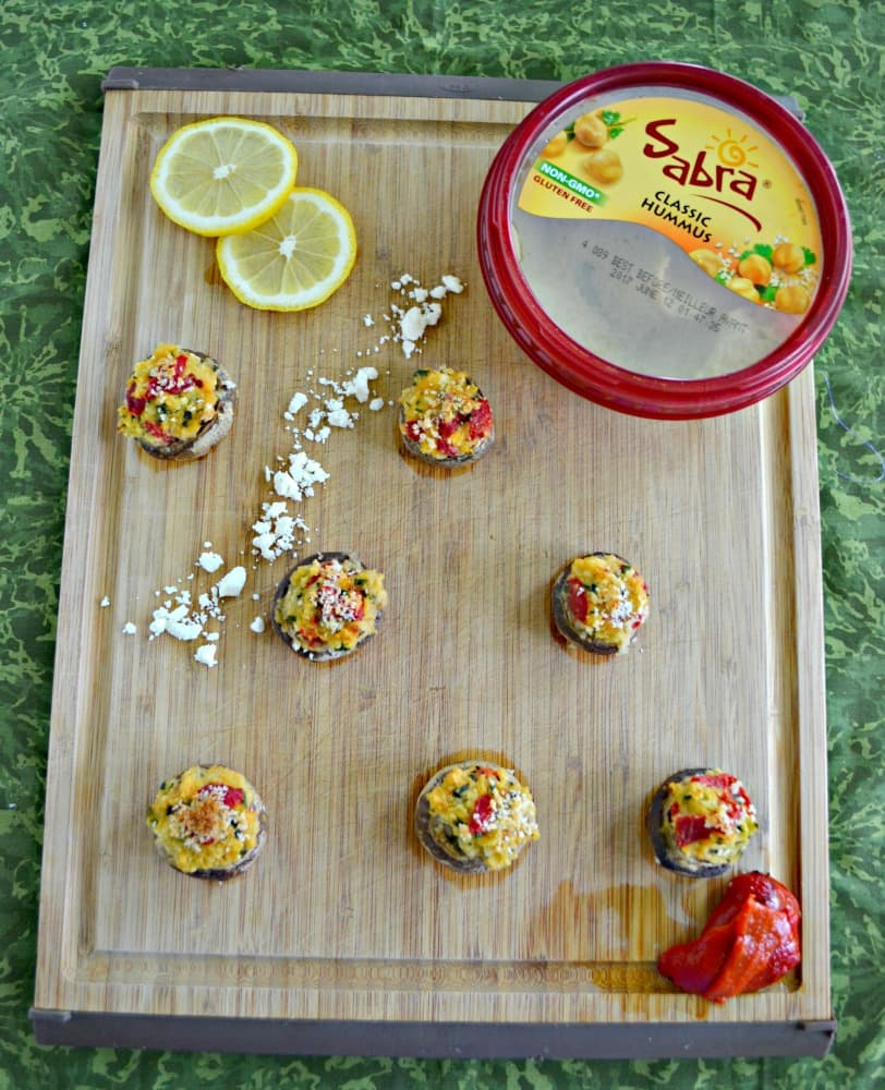 Check out these delicious Mediterranean Hummus Stuffed Mushrooms with Sabra hummus!