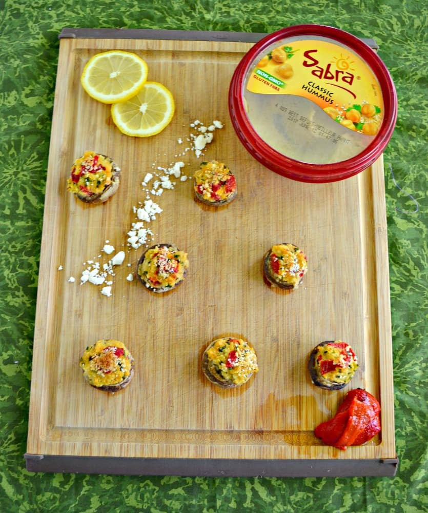 Everyone will want to grab one of these awesome Hummus Stuffed Mushrooms for a snack!