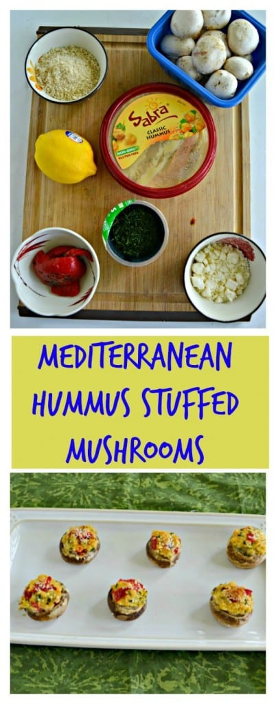 Grab your favorite flavor of Sabra Hummus and make these Mediterranean Hummus Stuffed Mushrooms!