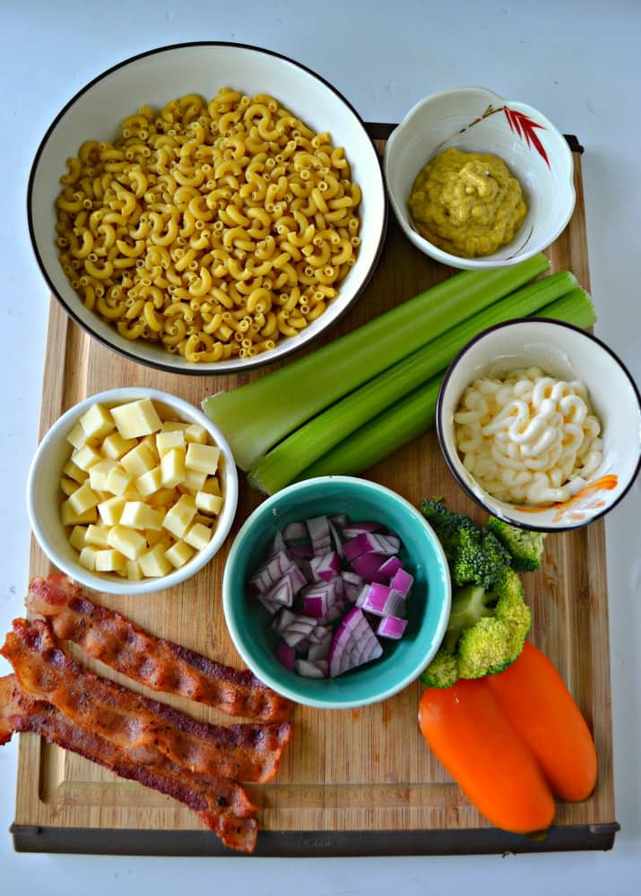 Check out all the delicious ingredients in my easy Loaded Macaroni Salad!