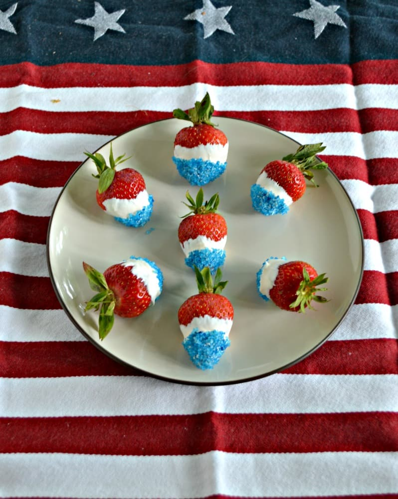 Red, White, and Blue Chocolate Covered Strawberries are perfect for patriotic parties!
