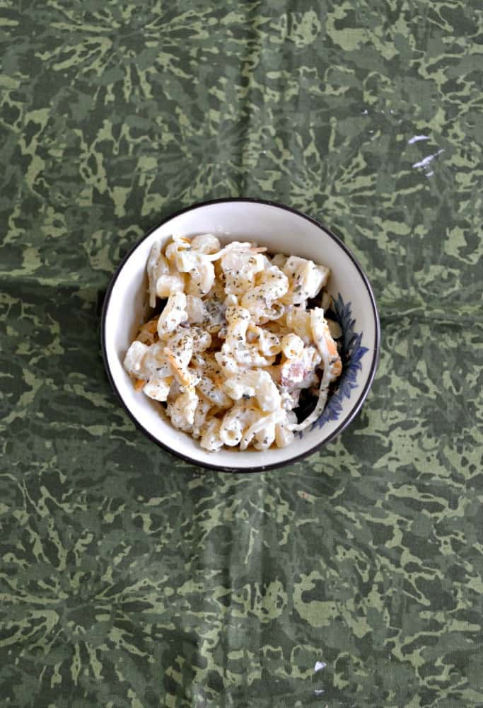 Going to a picnic? Try this awesome Jalapeno Popper Macaroni Salad recipe!