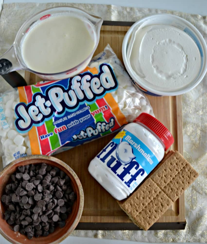 Everything you need to make a tasty No Bake S'mores Cake!