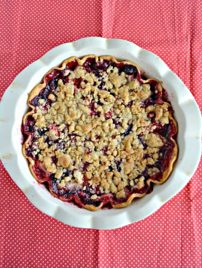 One of my favorite pies is this delicious Triple Berry Pie with crumble topping!