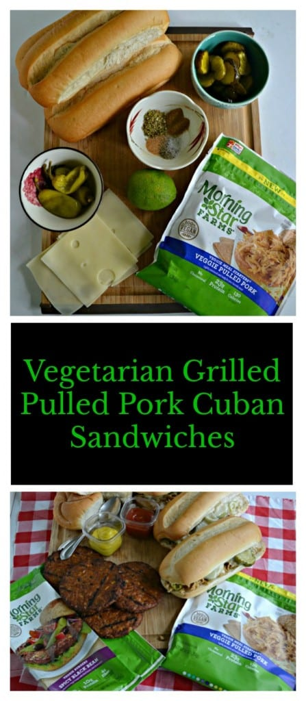 Everything you need to make a Vegetarian Grilled Pulled Pork Cuban Sandwich!