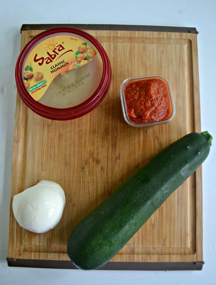 EVerything you need to make Zucchini Roll Ups with Sabra Hummus and Mozzarella cheese