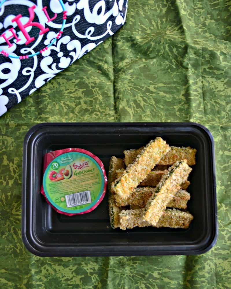 Baked Zucchini Sticks with Sabra Guacamole Singles is a filling and delicious lunch!