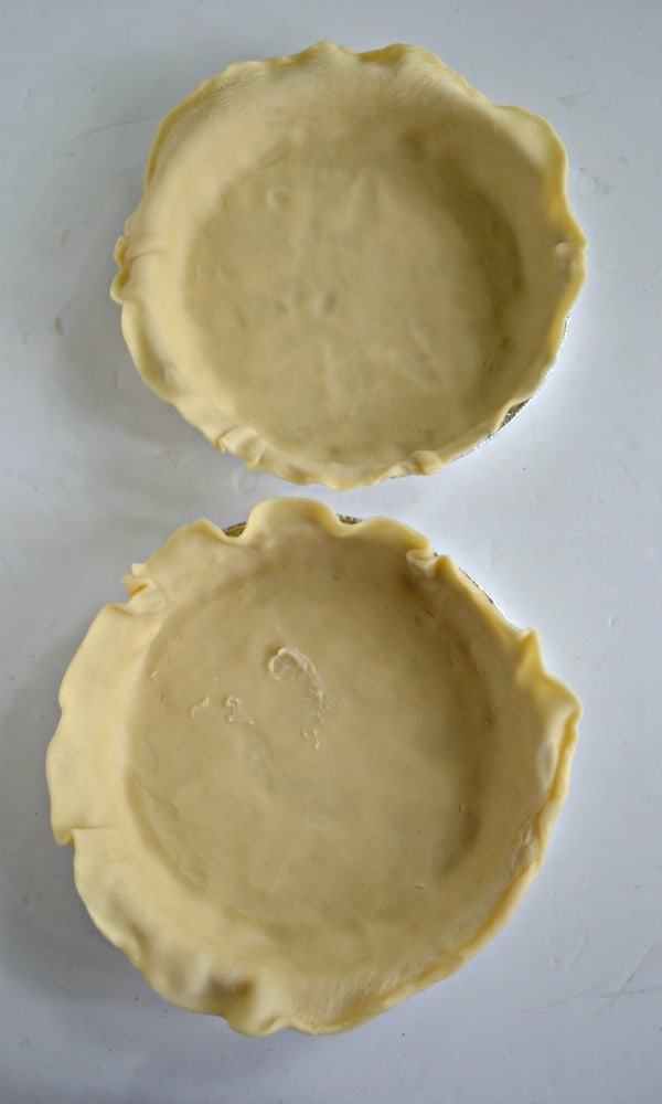 Two crusts ready for the Pot Pie Mix.