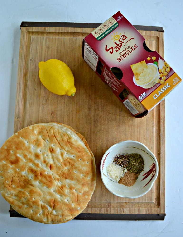 Everything you need to make Lemon Parmesan Pita Chips with Sabra Hummus Singles.